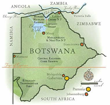Destinations Botswana John Stevens Safaris Guided Safaris Africa - Kalahari desert map